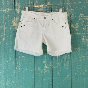 Lucky Brand White Embroidered Blue Stars Shorts